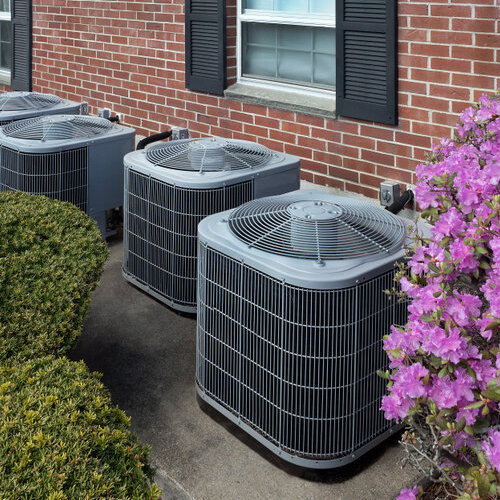 Air conditioning units outside a residence.